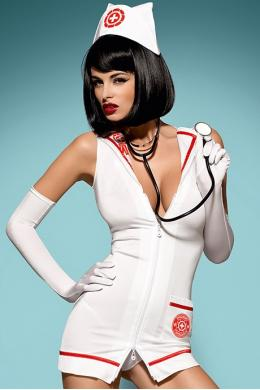 Костюм Obsessive Emergency dress со стетоскопом Белый