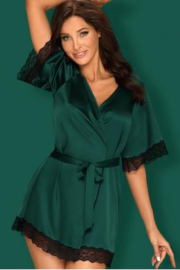 Комплект Obsessive Sensuelia robe Изумрудно-черный